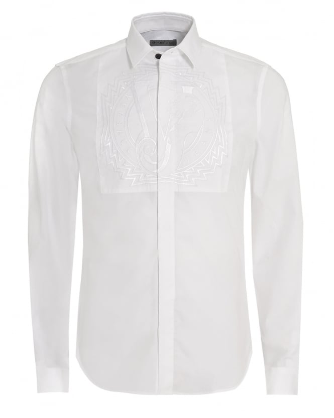 Versace Jeans Mens Shirt White Logo Bib Design Slim Fit Shirt
