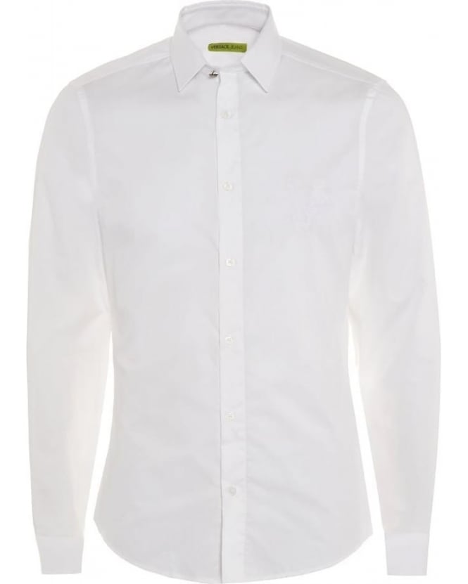Versace Jeans Mens Shirt White Slim Fit Cotton Plain Shirt