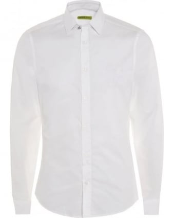 Mens Shirt White Slim Fit Cotton Plain Shirt