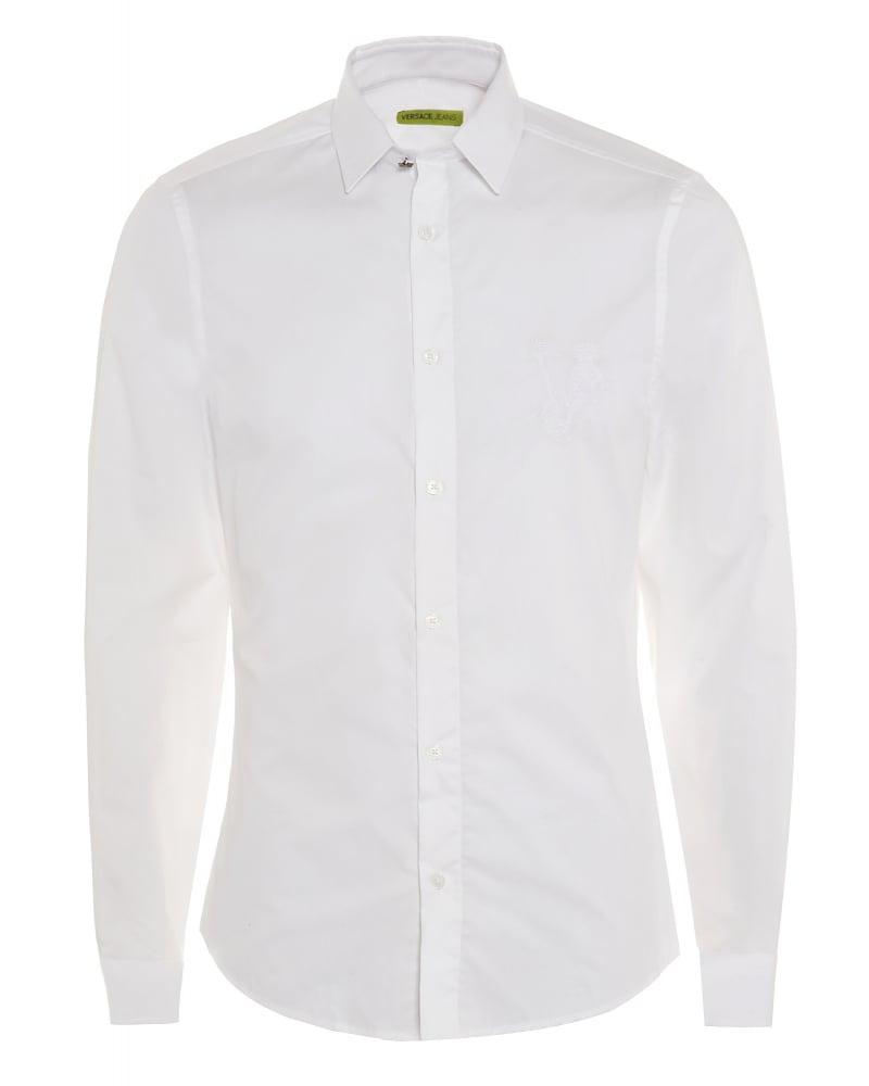 Versace jeans mens shirt white slim fit cotton plain shirt for Mens slim white shirt