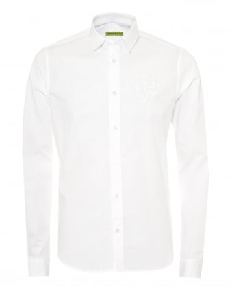 Mens Slim Fit Shirt, VJ Chest Logo White Shirt