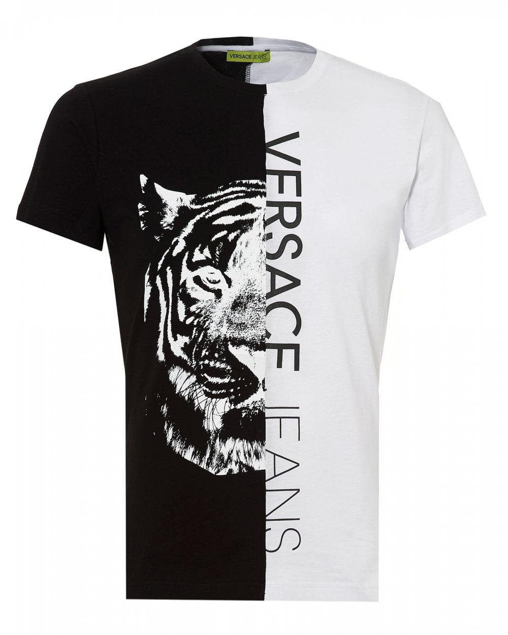 6dc639b4b Versace Jeans Mens Split Tiger Graphic T-Shirt, White Slim Fit Tee