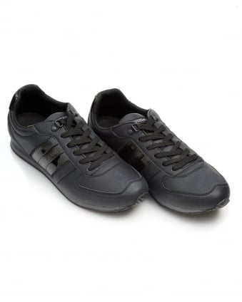 Mens Stripe Logo Trainers, Lace Up Black Sneakers