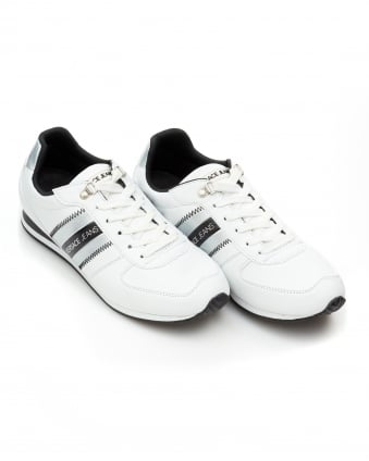 Mens Stripe Logo Trainers, Lace Up White Sneakers