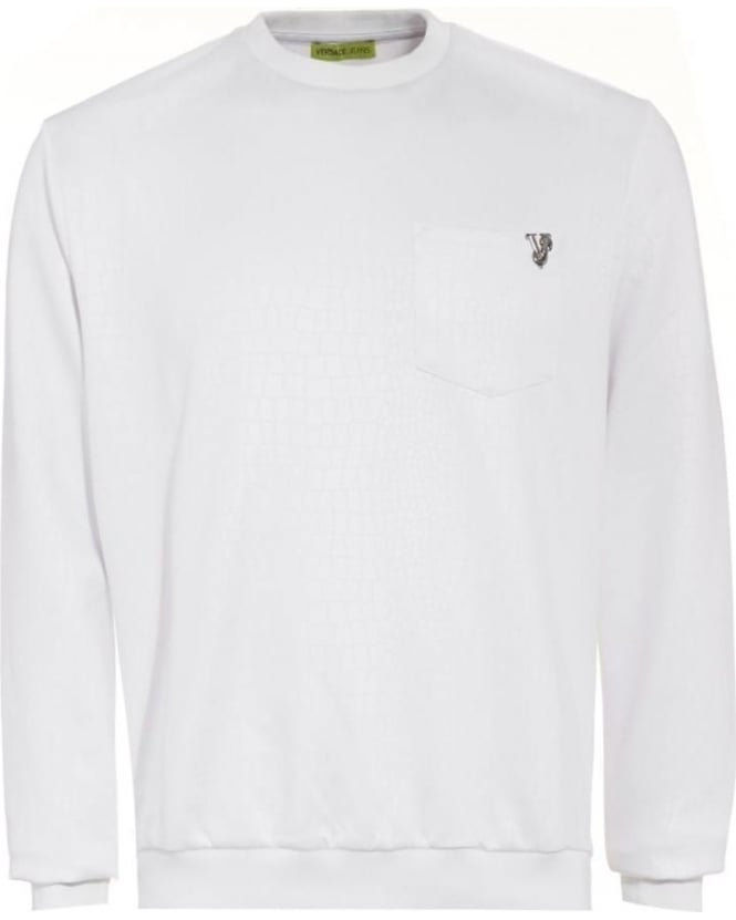 Versace Jeans Mens Sweatshirt, White Crocodile Print Jumper