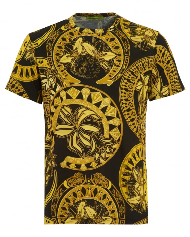 Versace jeans mens t shirt all over ornamental print for Versace style shirt mens
