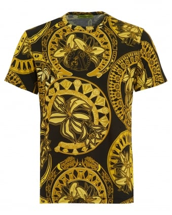 Mens T-Shirt, All Over Ornamental Print Black Gold Tee