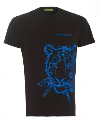Mens T-Shirt, Black Neon Blue Tiger Face Tee