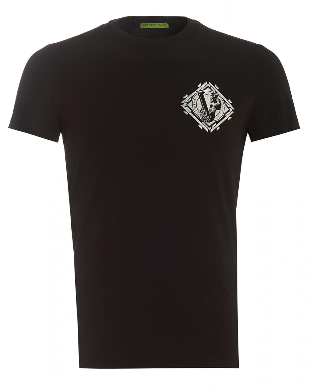 Versace jeans lettered silver tiger logo black t shirt for Silver jeans t shirts