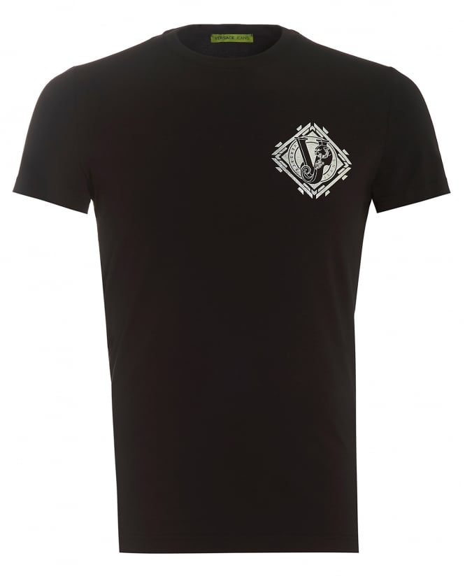 Versace Jeans Mens T-Shirt, Lettered Silver Tiger Logo Slim Fit Black Tee