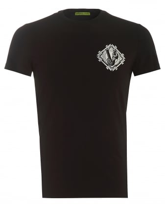 Mens T-Shirt, Lettered Silver Tiger Logo Slim Fit Black Tee