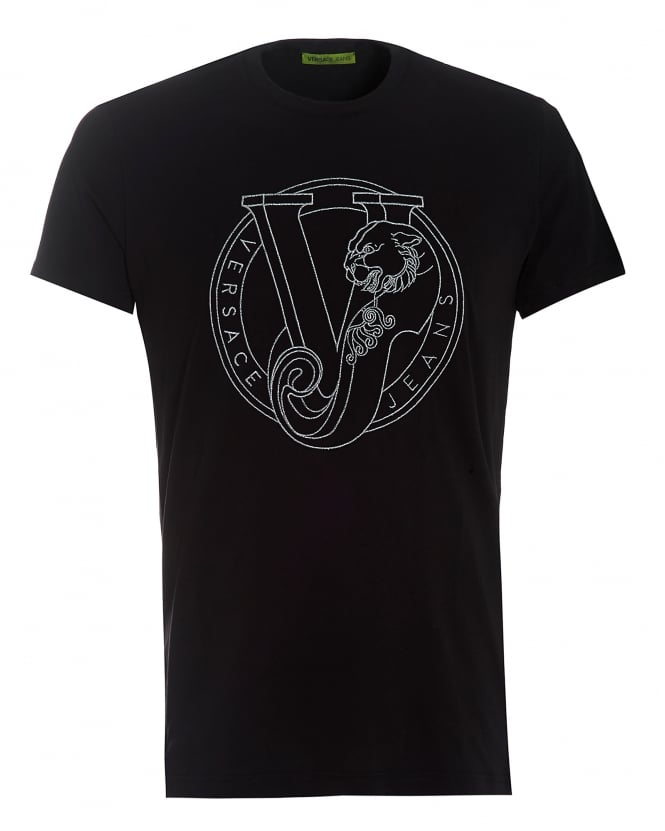 versace jeans black circular silver panther embroidered logo tee. Black Bedroom Furniture Sets. Home Design Ideas