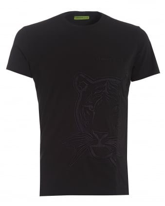 Mens T-Shirt, Slim Fit Black Tiger Face Tee