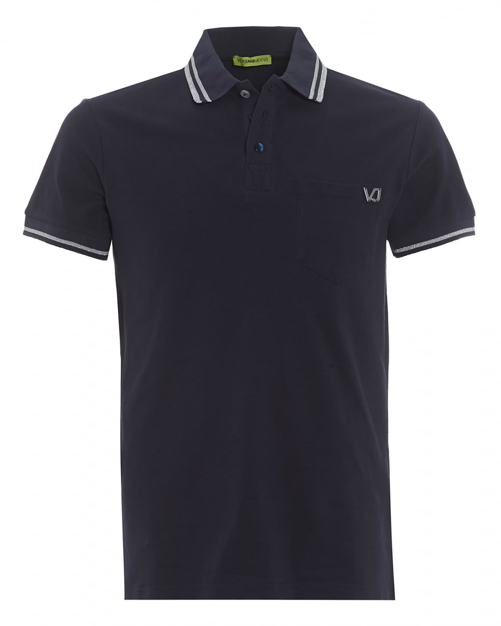 f5dcf9c8 Versace Jeans Mens Tiger Back Polo Shirt, Tipped Navy Blue Polo