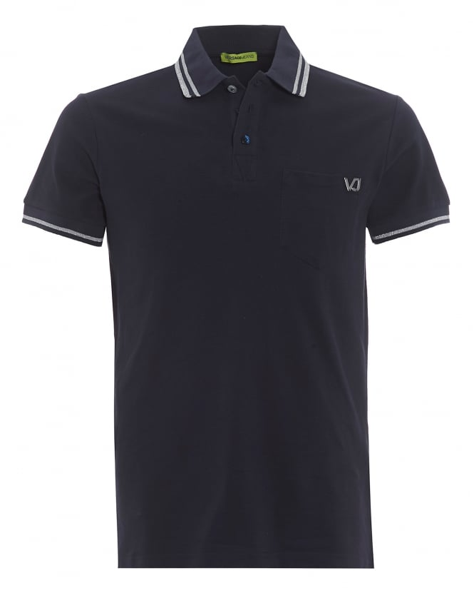 Versace Jeans Mens Tiger Back Polo Shirt, Tipped Navy Blue Polo