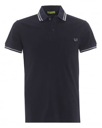 Mens Tiger Back Polo Shirt, Tipped Navy Blue Polo