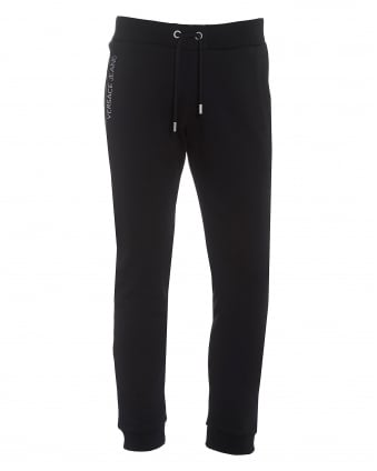 Mens Trackpants, Black Embroidered Logo Sweatpants
