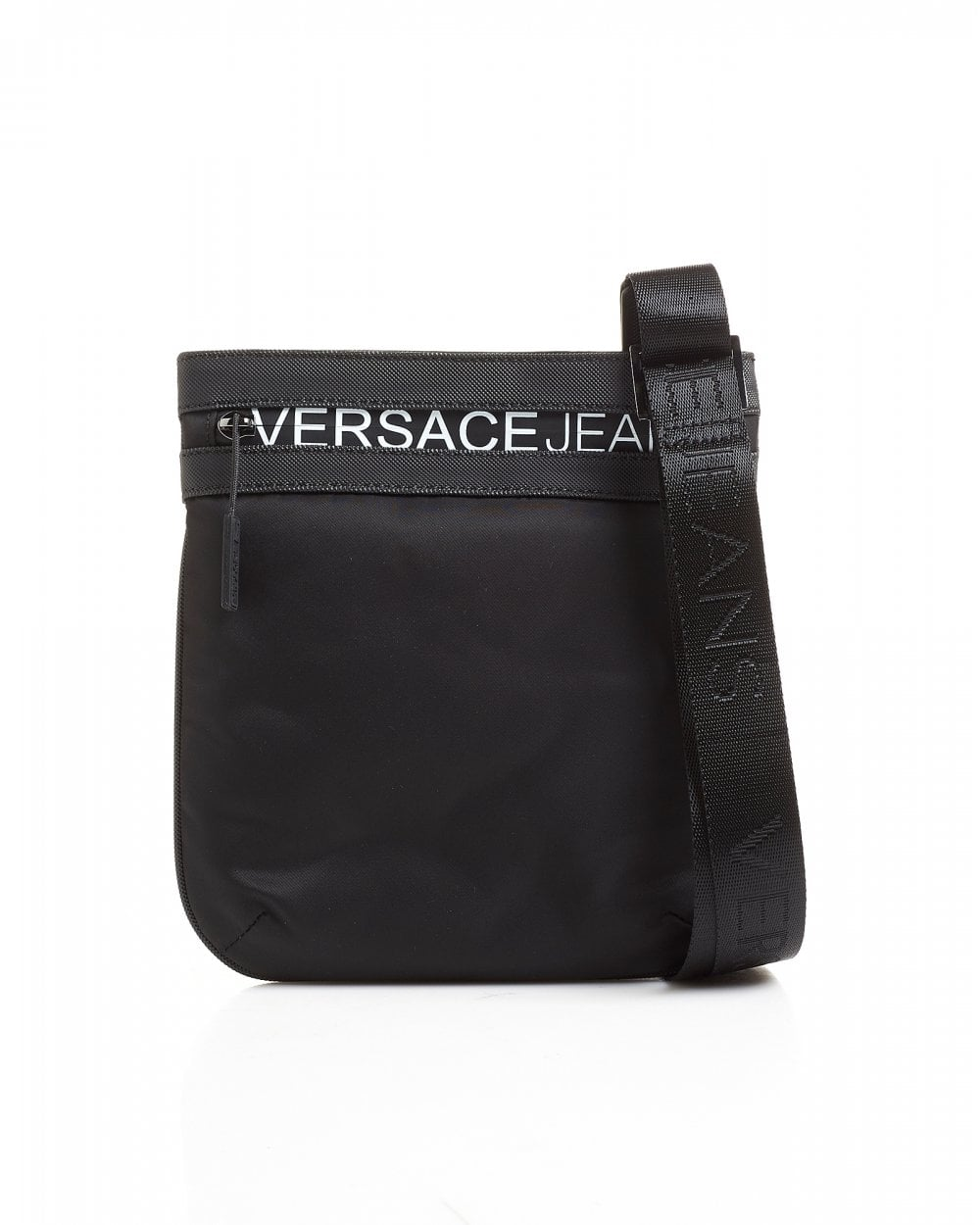 9d677d4c63 Versace Jeans Mens White Lettered Logo Black Stash Bag
