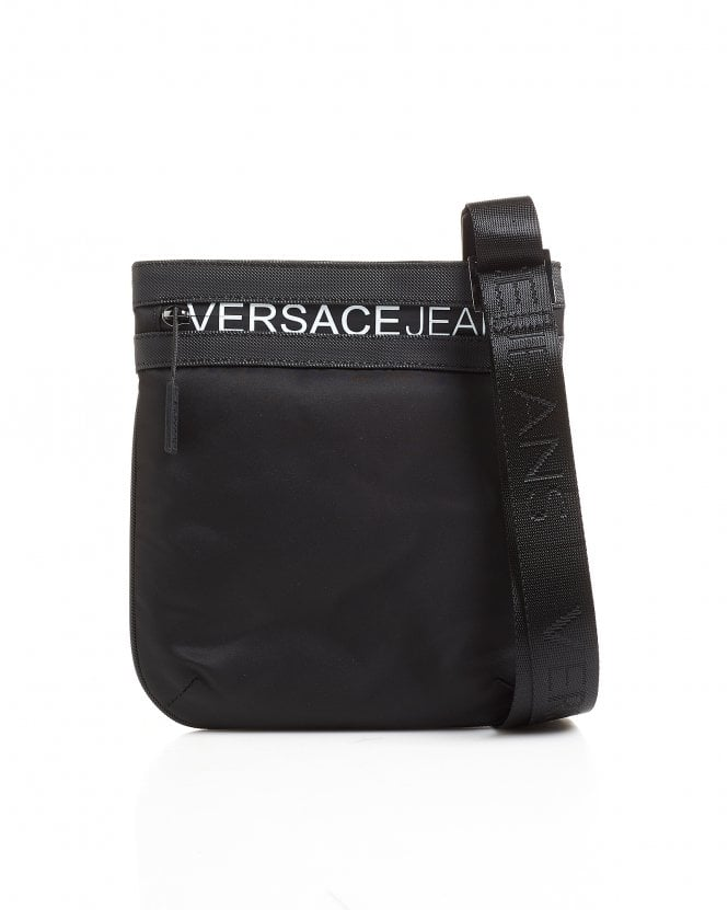 Versace Jeans Mens White Lettered Logo Black Stash Bag