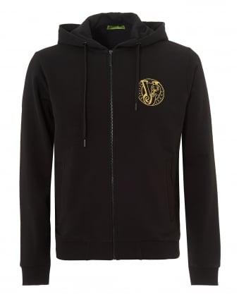 Mens Zip Up Hoodie, Black Logo Zip Through Sweat