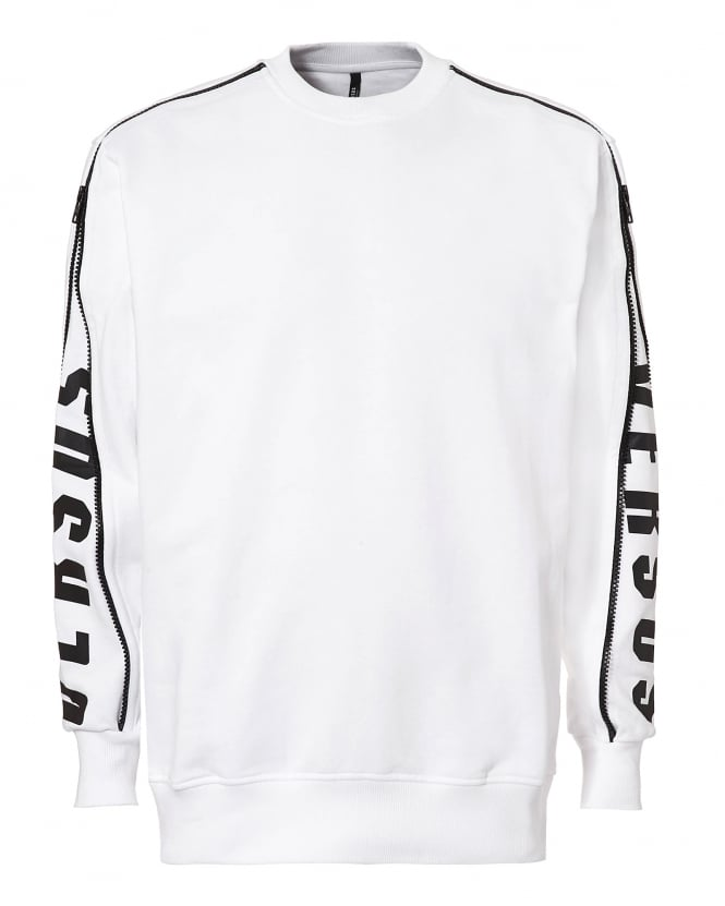 Versus Versace Mens Arm Zip Sweatshirt, White and Black Zipped Jumper