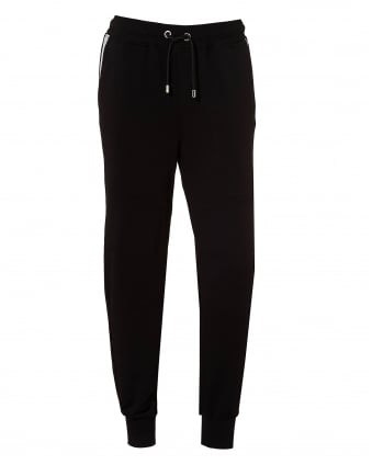 Mens Back Logo Sweatpants, Black Cuffed Trackpants