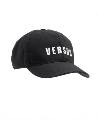 Mens Baseball Cap, Versus Written Logo Black Cap
