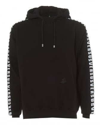 Mens Black Hoodie, Tape Sleeves Text Logo Hooded Sweater
