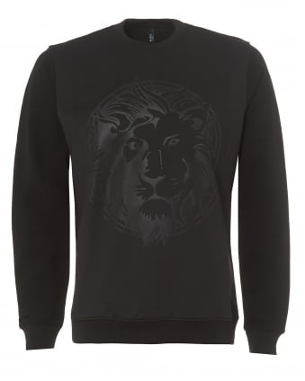 Mens Black Sweatshirt, Embossed Lion Logo Jumper