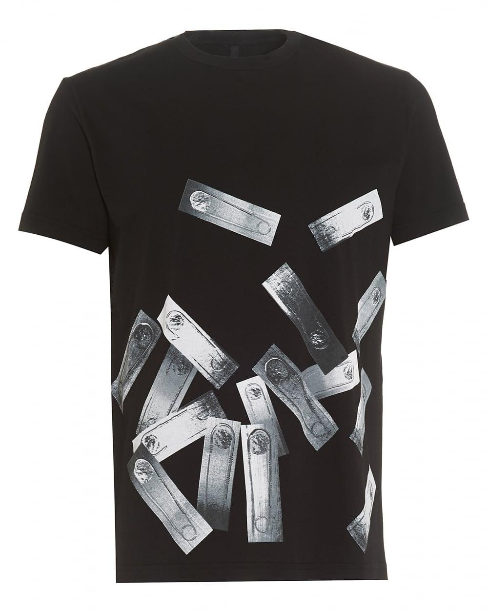 Mens Black T-Shirt, Regular Fit Safety Pin Photocopy Print Tee
