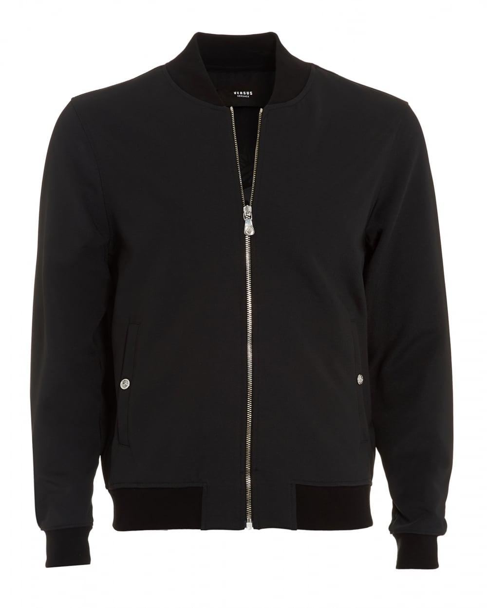 Versus Versace Mens Bomber Jacket, Large Lion Black Jacket