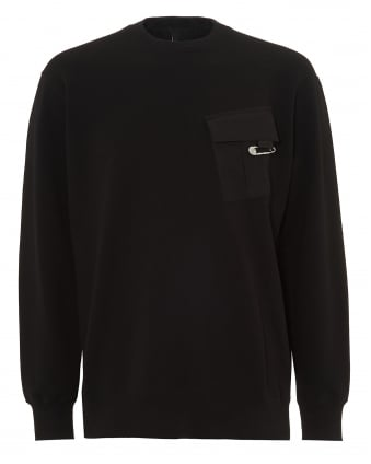 Mens Chest Pocket Jumper, Black Safety Pin Sweater