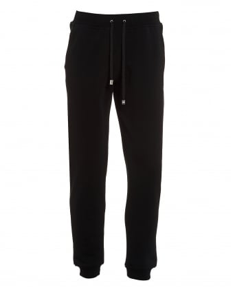 Mens Cuffed Trackpants, Lion Stud Black Sweatpants