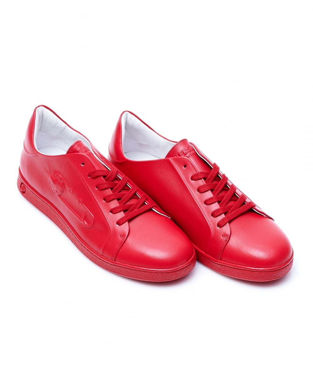 Mens Embossed Safety Pin Trainers Tonal Red Leather Sneakers