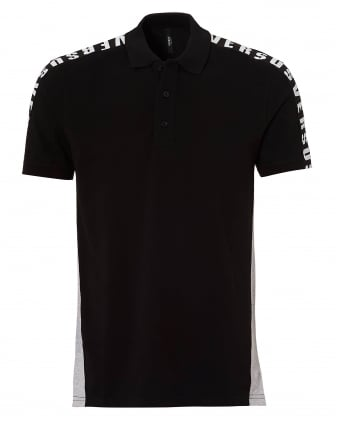 Mens Grey Panel Polo, Black Taped Polo Shirt