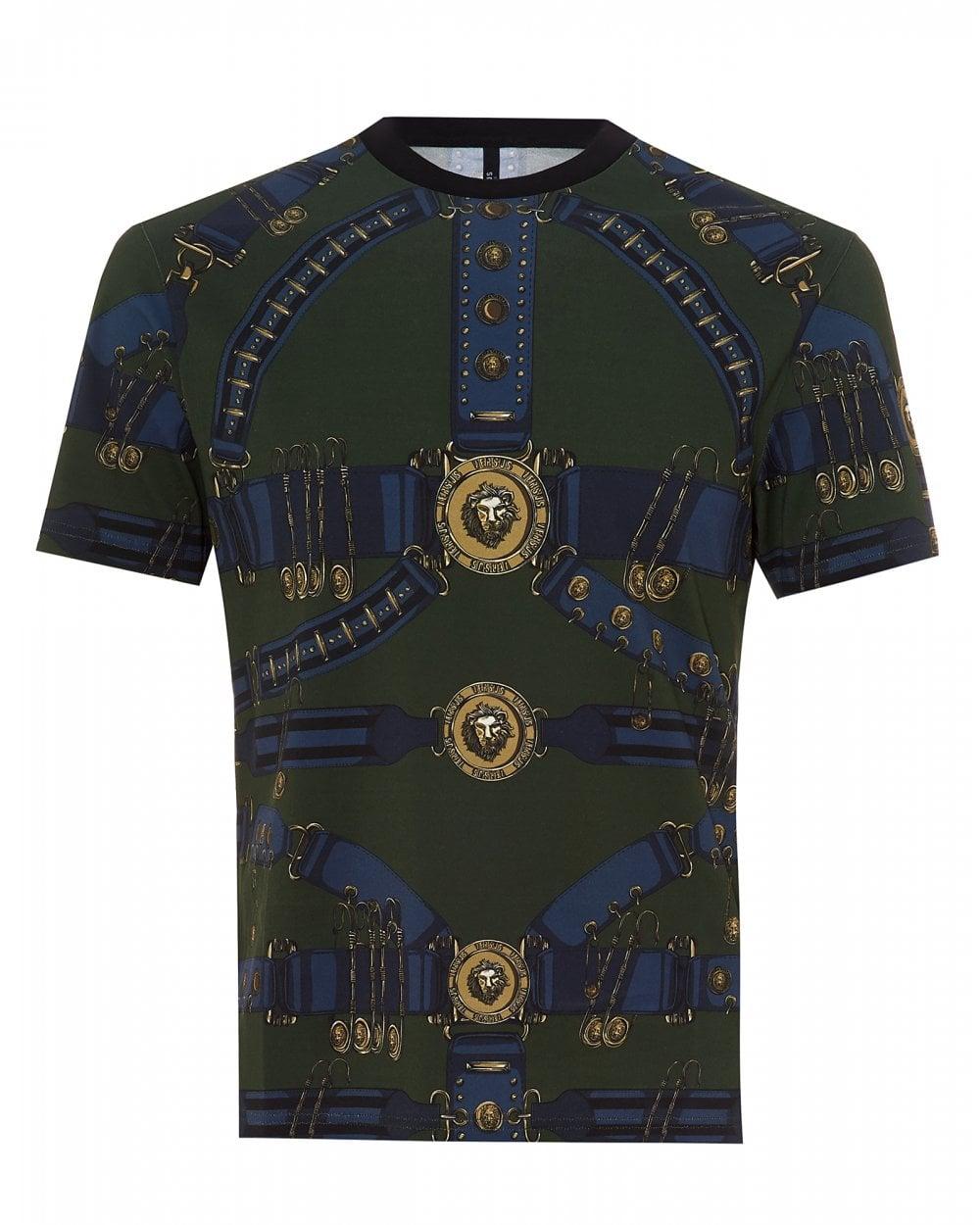 479ad18d Versus Versace Mens Heritage Belt Print Slim Military Green T-Shirt