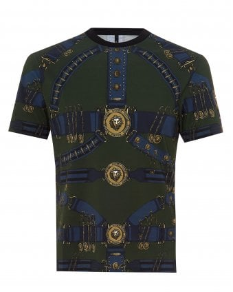 d10f8931 Mens Heritage Belt Print T-Shirt, Slim Fit Military Green Tee SALE. Versus  Versace ...