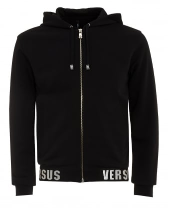 Mens Hoodie, Branded Hem Black Sweatshirt