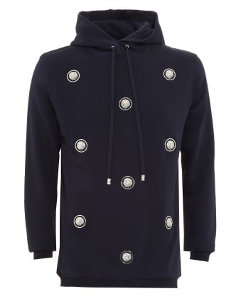 Mens Hoodie, Lion Branded Studded Navy Blue Sweatshirt