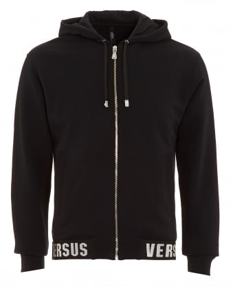 Mens Hoodie, Zip Up Logo Hem Black Sweatshirt