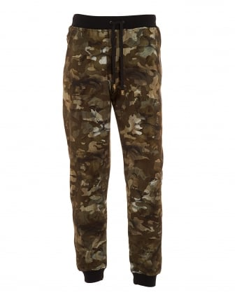 Mens Lion Camouflage Print Cuffed Trackpants