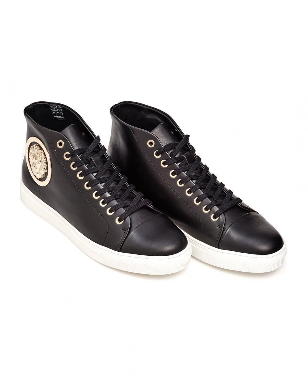 Versus Versace Mens Lionhead Logo Sneaker, Rubber Sole Black High Tops d5305134c1d