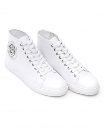 Mens Lion Trainers, White High Top Lace Up Sneakers
