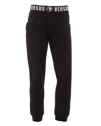 Mens Logo Elasticated Waistband Black Trackpants