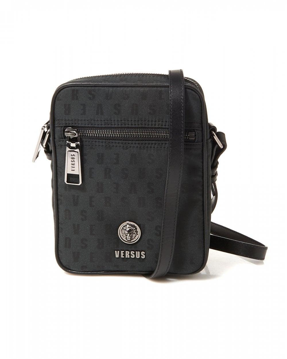 3113cece50f4 Versus Versace Mens Logomania Black Shoulder Stash Bag
