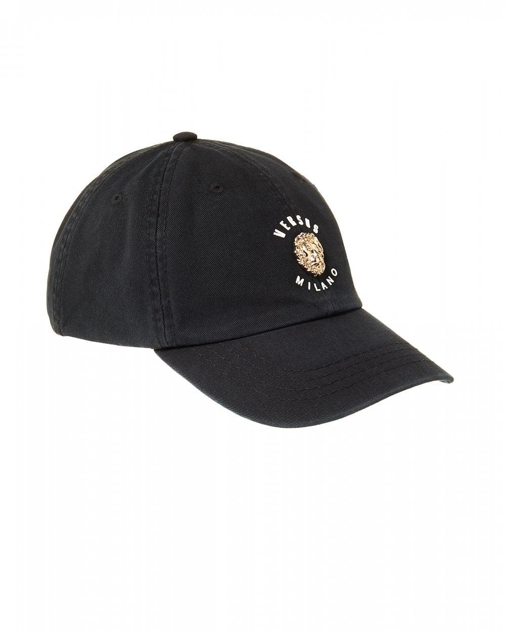 d8e8551e6f5 Versus Versace Mens Metal Lions Head Black Baseball Cap