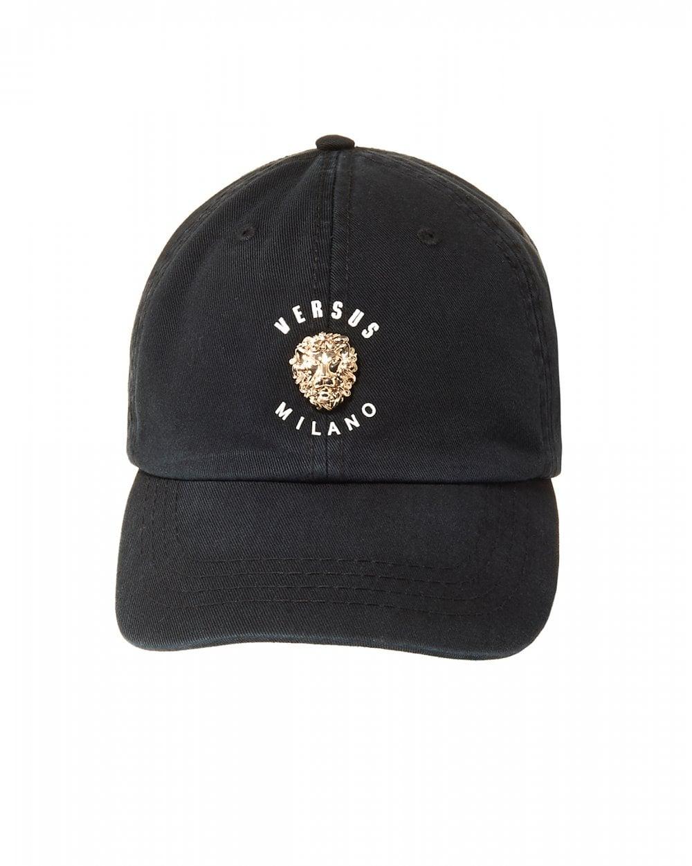 22e096973943 Versus Versace Mens Metal Lions Head Black Baseball Cap