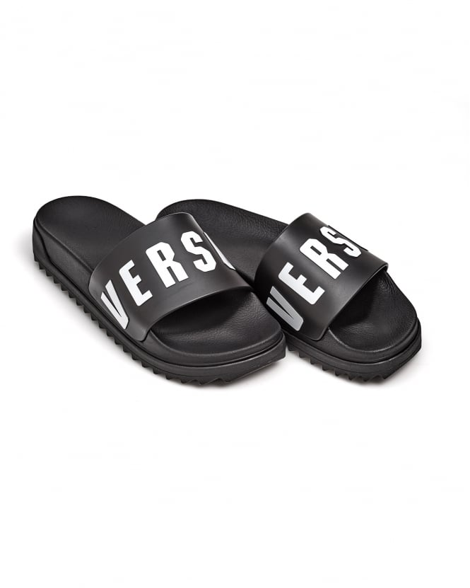 Versace Versus Mens Rubber Sliders, White Versus Text Black Flip Flops