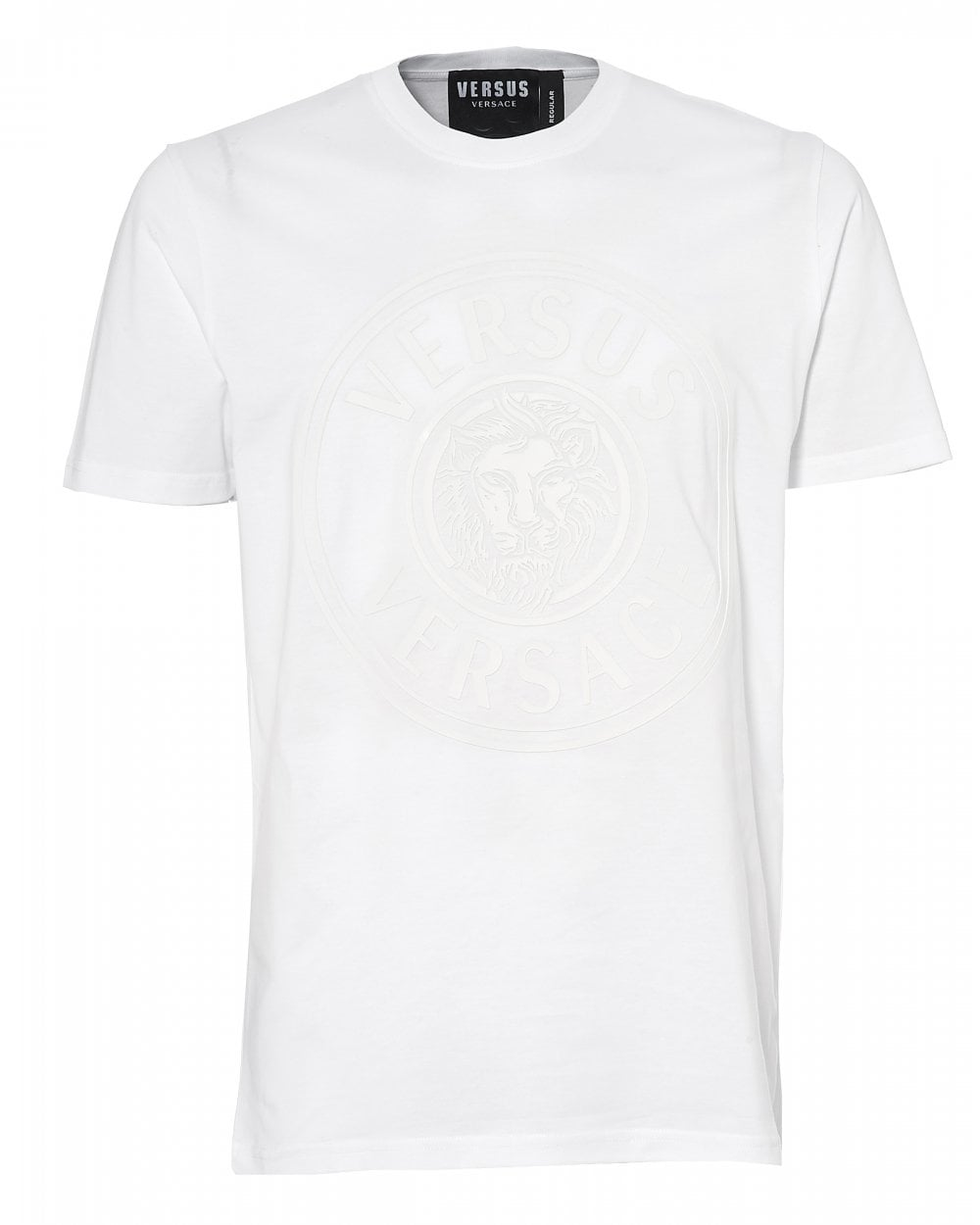 ff01c7ab036cf1 Versus Versace Mens Rubberised Lions Head T-Shirt, White Tee
