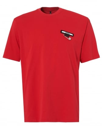 Mens Safety Pin T Shirt, Short Sleeve Red Patch Tee